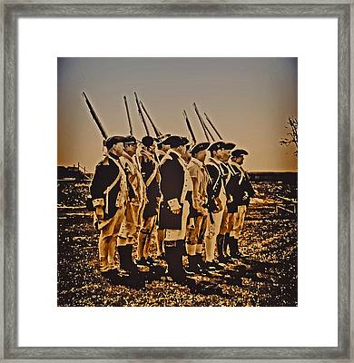 Colonial Soldiers On Parade Framed Print by Bill Cannon