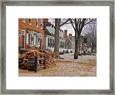 Colonial Street Scene Framed Print by E Robert Dee