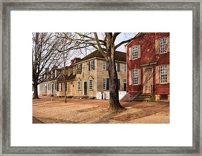 Colonial Street Scene Framed Print by Sally Weigand