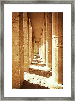 Colonnade At The Temple Of Queen Hatshepsut In Egypt Framed Print
