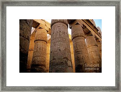 Colonnade In The Karnak Temple Complex At Luxor Framed Print by Sami Sarkis