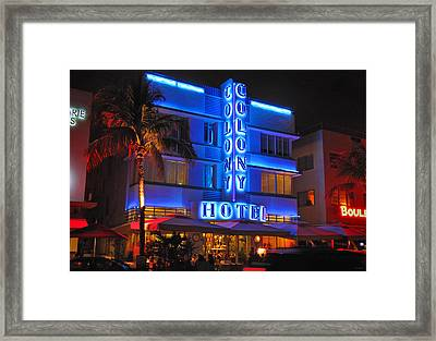 Colony Hotel On Ocean Drive Framed Print