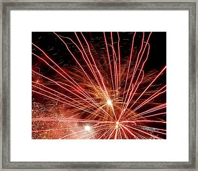 Framed Print featuring the photograph Color Blast Fireworks #0731 by Barbara Tristan