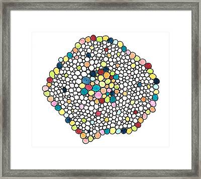 Framed Print featuring the drawing Color Cells by Jill Lenzmeier