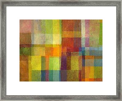 Framed Print featuring the painting Color Collage With Green And Red 2.0 by Michelle Calkins