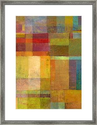 Framed Print featuring the painting Color Collage With Green And Red by Michelle Calkins