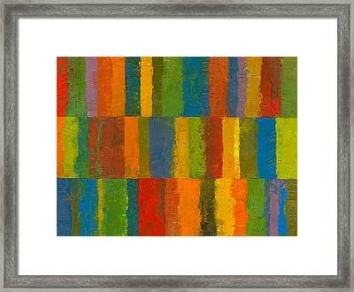 Color Collage With Stripes Framed Print by Michelle Calkins