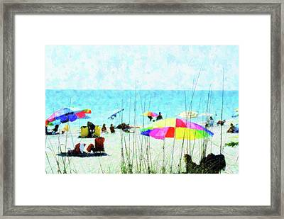 Color Filled Beach Day Framed Print