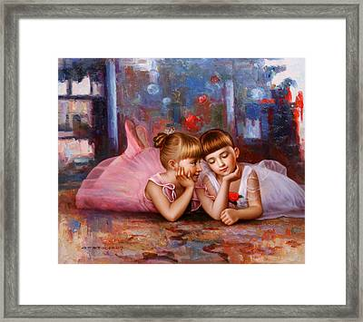 Color Of Melody -two Young Ballerina Framed Print
