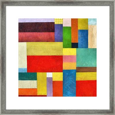 Color Panel Abstract With White Buttons Framed Print