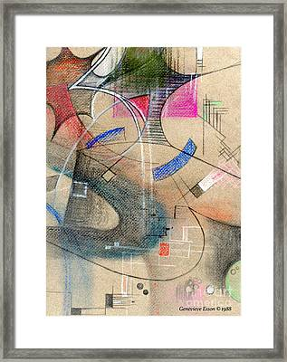 Color Pencil Abstract On Pastel Paper Framed Print by Genevieve Esson