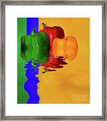 Framed Print featuring the photograph Color Pop Peppers By Kaye Menner by Kaye Menner