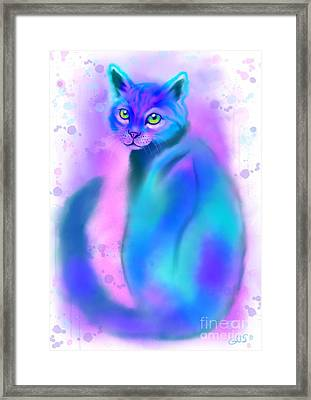 Color Wash Cat Framed Print by Nick Gustafson