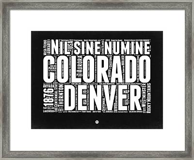 Colorado Black And White Word Cloud Map Framed Print by Naxart Studio