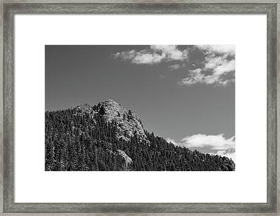 Framed Print featuring the photograph Colorado Buffalo Rock With Waxing Crescent Moon In Bw by James BO Insogna