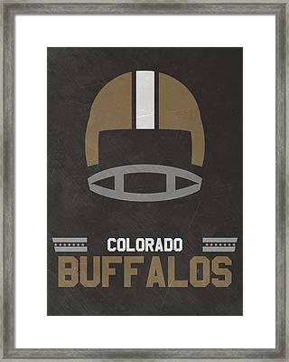 Colorado Buffalos Vintage Football Art Framed Print by Joe Hamilton