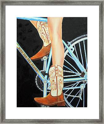 Framed Print featuring the painting Colorado Cyclist by Jennifer Godshalk