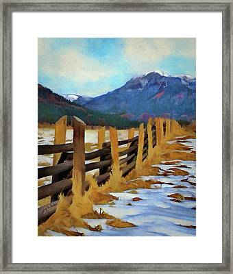 Framed Print featuring the painting Colorado Fence Line  by Jeff Kolker