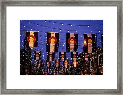 Colorado Flags On Larimer Square Denver Framed Print
