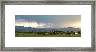 Framed Print featuring the photograph Colorado Front Range Lightning And Rain Panorama View by James BO Insogna