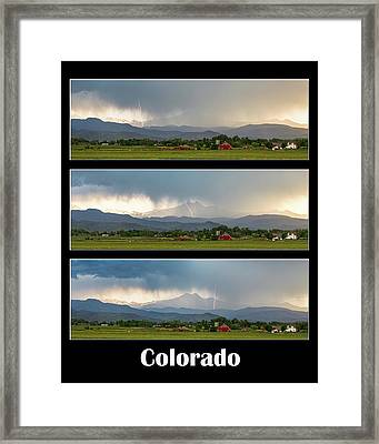 Framed Print featuring the photograph Colorado Front Range Longs Peak Lightning And Rain Poster by James BO Insogna