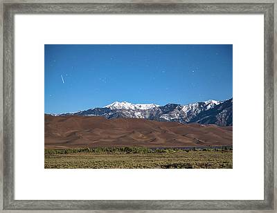 Colorado Great Sand Dunes With Falling Star Framed Print by James BO Insogna