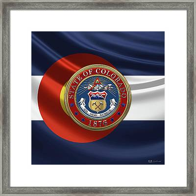 Colorado Great Seal Over Flag Framed Print by Serge Averbukh