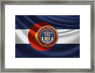 Colorado Great Seal Over State Flag Framed Print by Serge Averbukh