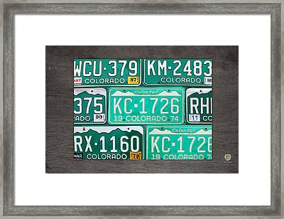 Colorado License Plate Map Recycled Car Tag Art Framed Print
