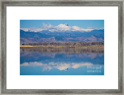 Colorado Longs Peak Circling Clouds Reflection Framed Print