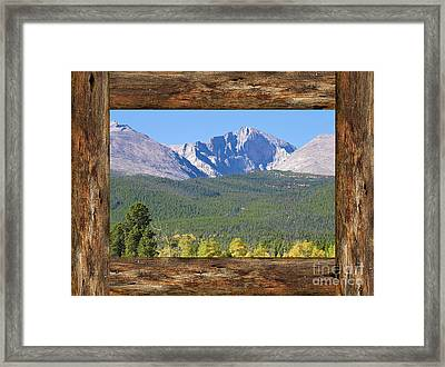 Colorado Longs Peak Rustic Wood Window View Framed Print