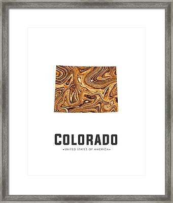 Colorado Map Art Abstract In Brown Framed Print