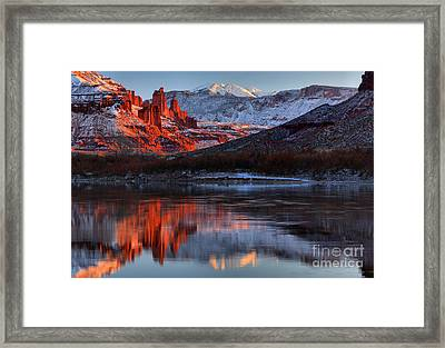 Framed Print featuring the photograph Colorado Red Tower Reflections by Adam Jewell