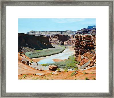 Colorado River Bend Framed Print by Lester Nielsen
