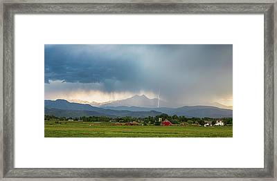 Framed Print featuring the photograph Colorado Rocky Mountain Red Barn Country Storm by James BO Insogna