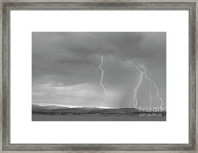Colorado Rocky Mountains Foothills Lightning Strikes 2 Bw Framed Print
