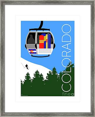 Colorado Ski Country Blue Framed Print