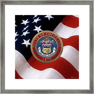 Colorado State Seal Over U.s. Flag Framed Print by Serge Averbukh