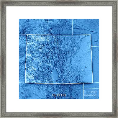 Colorado State Usa 3d Render Topographic Map Blue Border Framed Print