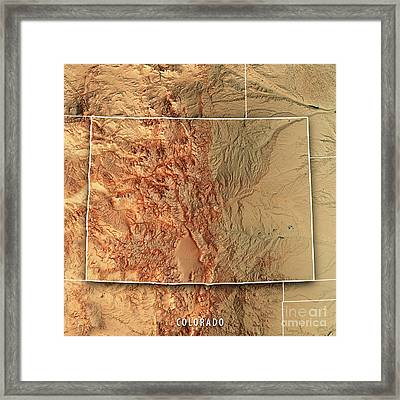 Colorado State Usa 3d Render Topographic Map Border Framed Print