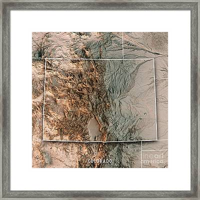 Colorado State Usa 3d Render Topographic Map Neutral Border Framed Print
