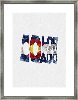 Colorado Typographic Map Flag Framed Print