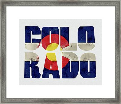 Colorado Typography Map Flag Framed Print by Kevin O'Hare
