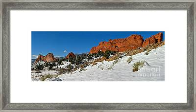 Framed Print featuring the photograph Colorado Winter Red Rock Garden by Adam Jewell