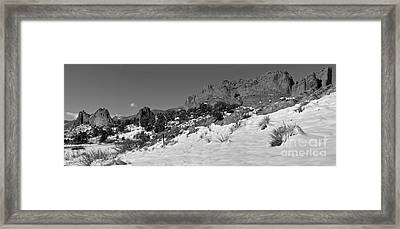 Framed Print featuring the photograph Colorado Winter Rock Garden Black And White by Adam Jewell