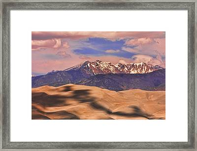 Colorado's Great Sand Dunes Shadow Of The Clouds Framed Print