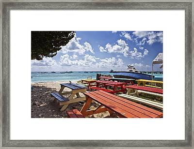 Colored Bench Framed Print by Jon Glaser