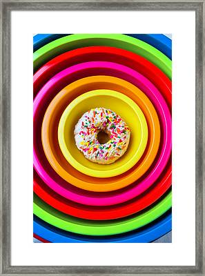 Colored Bowls And Donut Framed Print by Garry Gay
