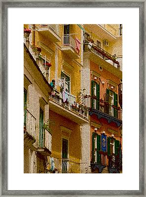 Colored Buildings Amalfi Italy Framed Print by Xavier Cardell