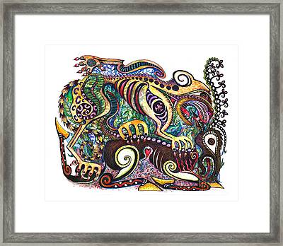 Colored Cultural Zoo D Version 2 Framed Print